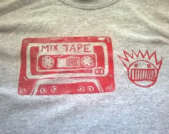Ween - Mix Tape Concert T-shirt, Boognish! Lino Print on Durable Cotton Gray T-shirt, Red Ink, Also in Ladies V Neck Sizes 90s 80s
