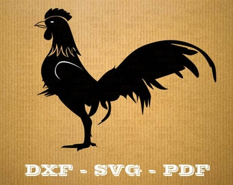 Format .dxf cock rooster - CNC cutting file - Vector vinyl - DXF SVG Pdf file - Cricut