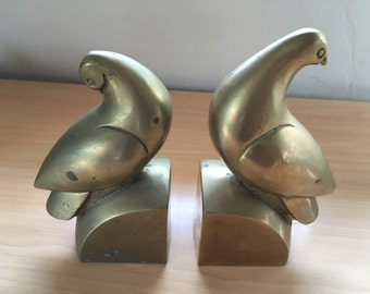 Vintage Brass Pigeon Bookends