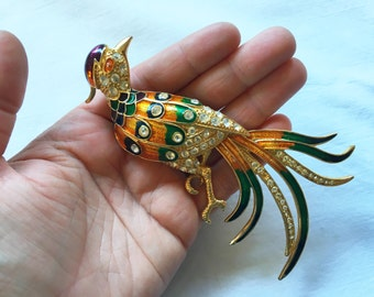 Huge Colorful Bird Brooch Pin