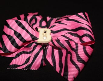 "Pink and Black Zebra Print ""B"" Hairbow"