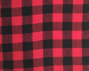 "Red and Black Buffalo Check Plaid 100% Cotton Flannel Fabric - 1 1/4"" check"