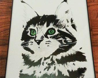 Maine Coon Cat Painting with Frame