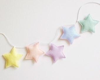 Five Star felt garland, star door hanger, grey nursery decor, felt star garland, garland, baby nursery decor
