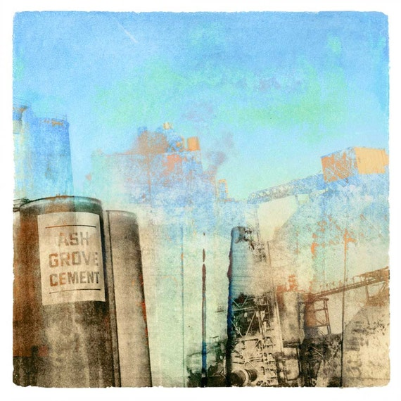 Ash Grove Cement for Maxfield Parrish, transfer print, monoprint, square art, urban decay, industrial art, beautiful blue, unique print
