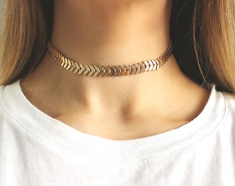 Tattoo Choker Gold Leaf Chain