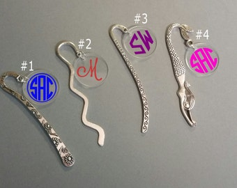 Personalized Bookmark, Metal Bookmark, Book Charm, Monogrammed, Silver Tone Bookmark
