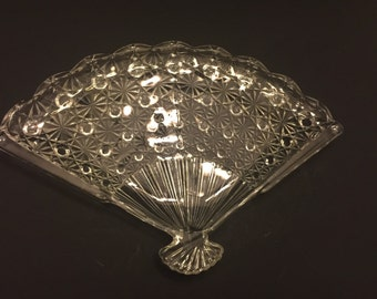 Vintage Glass Fan Shaped Relish Serving Dish Tray