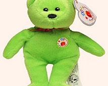 On Sale 50% Off Teenie Beanie Babies, Thirty the Bear, Green Beanie Baby, Ty Beanie Bear, Plushie, Kawaii, Bean Bag Toy, Kidtoys, Kiddos, St