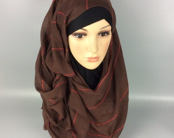 Brown Large Maxi Long Wide Striped Viscose Scarf/Hijab Shawl/Wrap