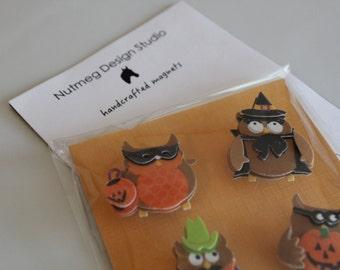 Set of 4 Halloween Owl Magnets, Handmade, 3D, Flexible Magnet