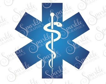 EMS Star of Life EMT Paramedic Medic Ambulance Emergency Medical Nurse Clipart Svg Dxf Eps Png Silhouette Cricut Cut File Commercial Use SVG