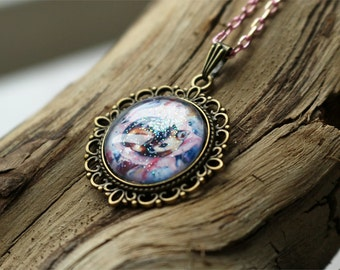 Unicorn Necklace ~ #fallinLove line  // fantasy unicorn necklace //  cute flower unicorn pendant // pink unicorn necklace
