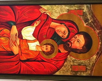Baby Jesus with father  Joseph and mother Mary