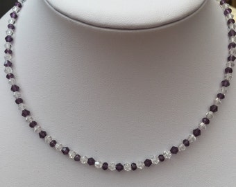 Plum and clear crystal necklace