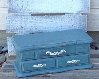 Vintage Jewlrey Box In Nashville Blue ~ Shabby Chic