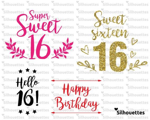 Svg Super Sweet 16 Happy Birthday 4 Typographic Svg