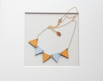 Bunting Necklace, Wood Triangular Flags, Geometric Triangle Necklace, Wood Jewelry