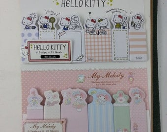 SALE : Limited Edition Romantic Hello Kitty/My Melody Fusan Sticky Memo  - 1pk made in Japan