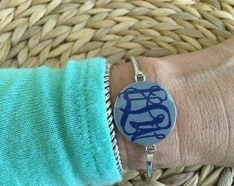 Monogrammed Disc Bangle Bracelet