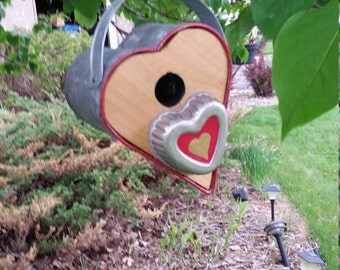 Heart shaped bird house.