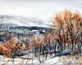 Original watercolor Landscape Nature - Winter landscape
