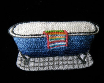 PIN embroidered bath hand
