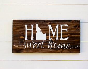 Home Sweet Home Idaho Rustic Entryway Wall Sign