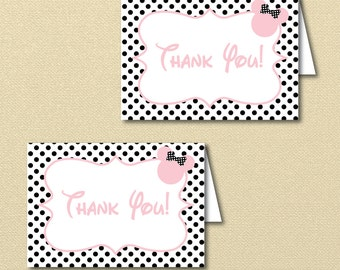 Pink and Black Minnie Mouse Thank you Card, Minnie Party, Minnie Baby Shower Thank You, Digital, Printable, Black and Pink Minnie Mouse