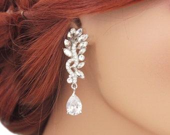 Crystal bridal earrings, Chandelier wedding earrings, Bridal jewelry, Wedding jewellery, CZ, Swarovski, Bridesmaids, 11313 Bridal earrings