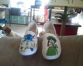Hand Painted Lilo and Stitch shoes