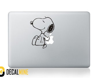 Snoopy Designer MacBook Decal Removable Vinyl Sticker MacBook Pro Decal MacBook Air Sticker Macbook Decals Snoopy Sitting Against Apple