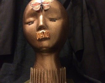 """Original mixed media assemblage sculpture """"Head in the trees"""" ooak art by J. Ducote"""