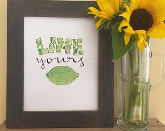 Lime Yours, Handmade Watercolor Art Print