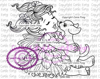 Digital Stamp, Digi Stamp, digistamp, Puppy Love by Conie Fong, Coloring Page, Baby Girl, Fairy, puppy, dog, scrapbooking