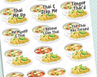 Thai Food Planner Stickers | Erin Condren | Kikki K | Filofax | Noodles | Asian Cuisine | Curry