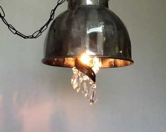 Industrial and crystal hanging lights