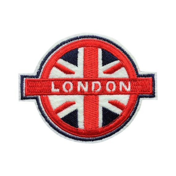 Uk flag patch london embroidered retro vintage by