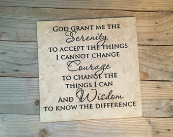 Serenity Prayer, Serenity, Name Sign, Family Name, Prayer, Personalized Tile,  Scripture Sign, Scripture, Addiction Recovery, Family, Tile