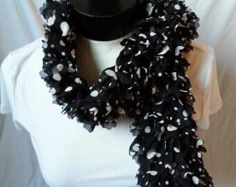 Black with White Dots Knitted Sassy Fabric Scarf