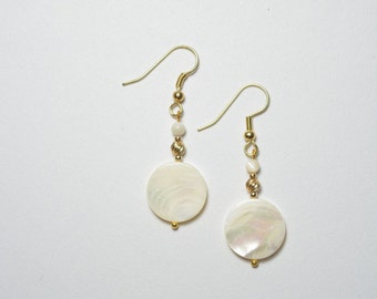 Earrings of Mother-of-Pearl with gold-filled beads