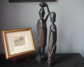 Hand carved wooden African females