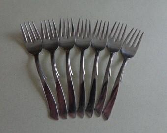 Ballet Vintage Wallace Stainless Flatware 7 Salad Forks