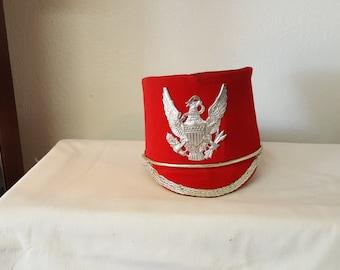 Vintage Drum Majorette hat, marching band, band uniform, vintage hat,  red hat, Eagle hat, marching band hat,  drum major, tall hat