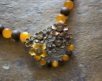 Orange and Brown Beaded Flower Necklace