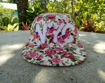 Rare vintage NEW YORK City Floral Full Print cap hat one size fit all