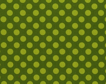 Moss Ta Dot  - HALF YARD - Michael Miller - Cotton Fabric - Quilting Fabric