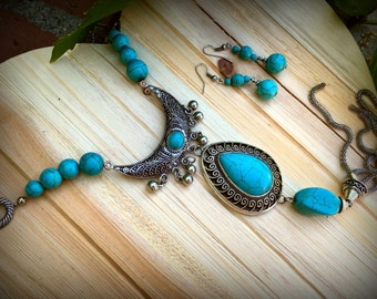 Long Turquoise Statement Necklace and Earrings