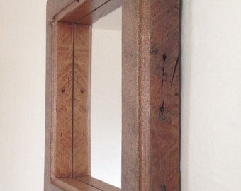 Mirror - Rustic Mirror - Glitter Mirror - Barnwood Mirror - 17 x 17 Mirror - Reclaimed Mirror - Childrens Room Mirror