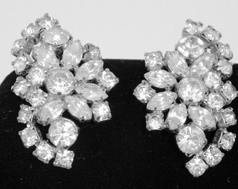 Clip on Earrings, early Hinged Rhinestones with silvertone backs circa 1950's